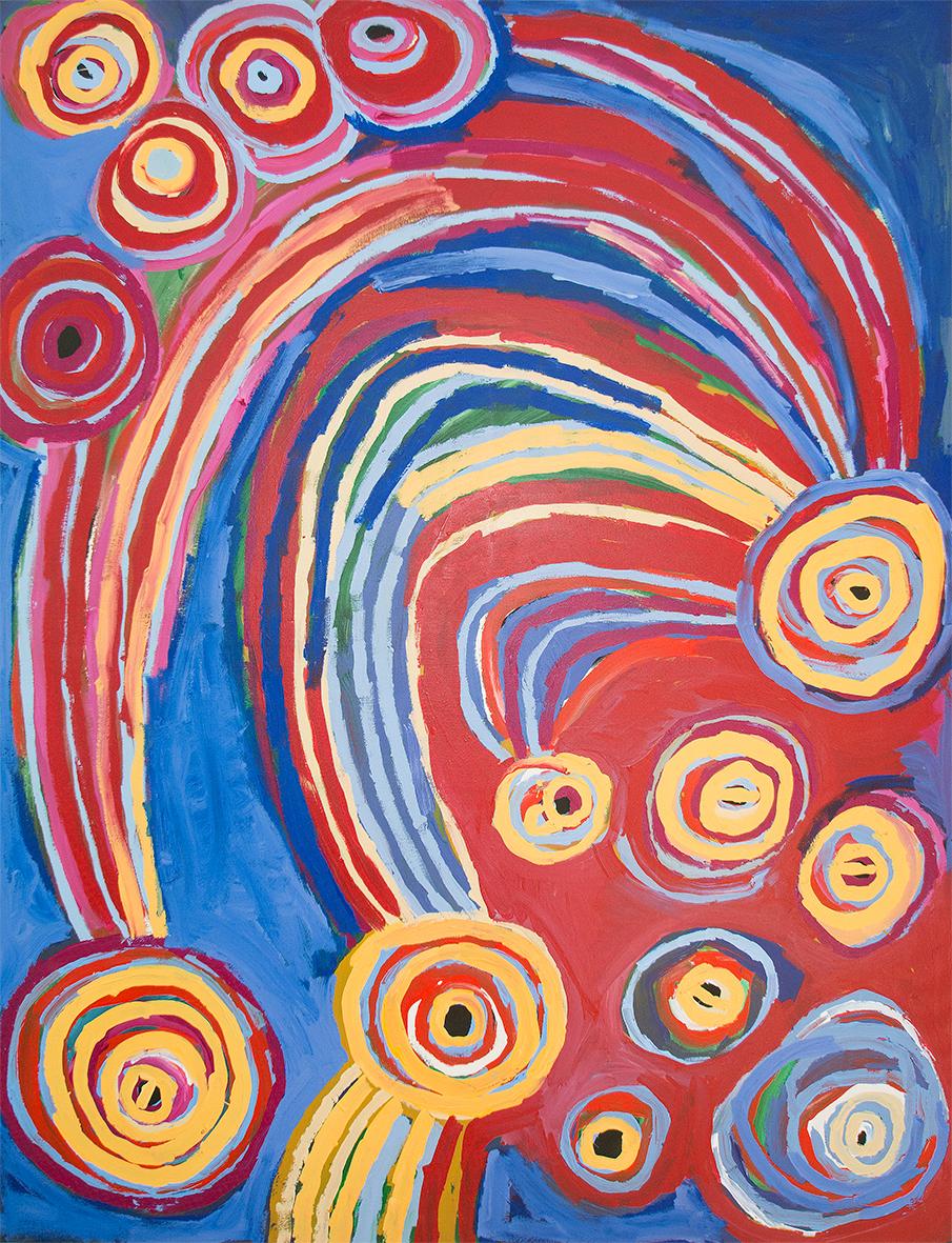 Œuvre de l'artiste Barbara Moore. Titre : Ngayuku ngura - My Country. Format : 152 x 198 cm. Acrylique sur toile de lin. © The artist & centre d'art de Tjala.