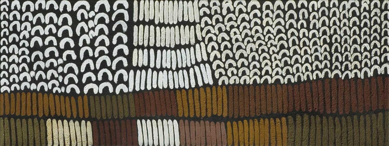 © Photo : Aboriginal Signature. Les écailles du poisson barramundi représentées par l'artiste Lena Nyadbi du centre d'art de Warmun. With the courtesy of the artist and the art centre.