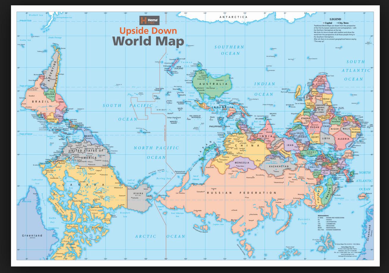 extrait d'une carte de l'Australie Upside-Down de la société HEMA. Plus d'info  ici.
