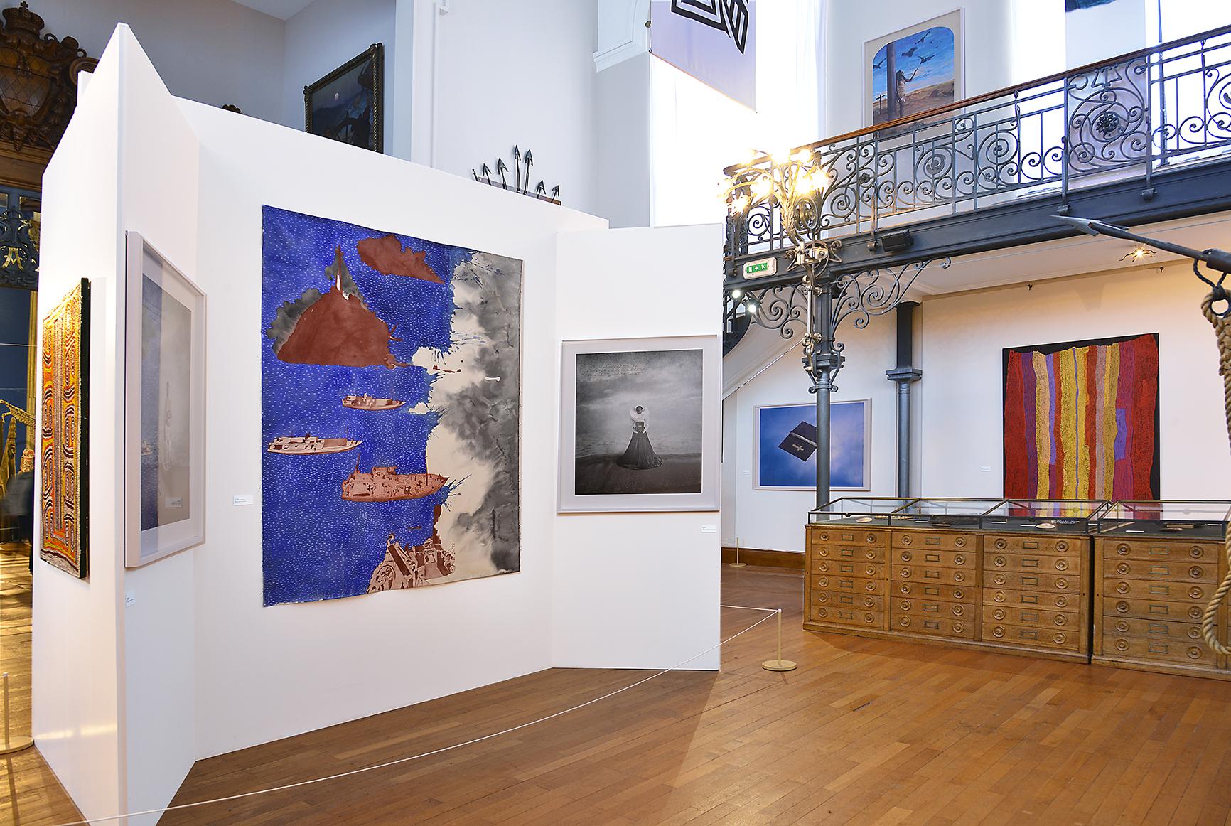 """Vue de l'exposition """"Eaux Vivantes"""" avec la collection Sordello-Missana. © Photo with the courtesy of Jacques Tomasini."""