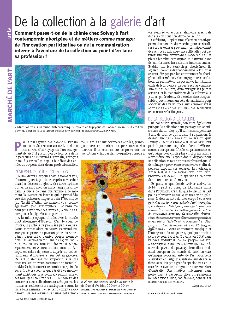 Retrouvez l'article en ligne ici : http://mobile.lesoir.be/1271835/article/culture/marche-l-art/2016-07-20/collection-galerie-d-art