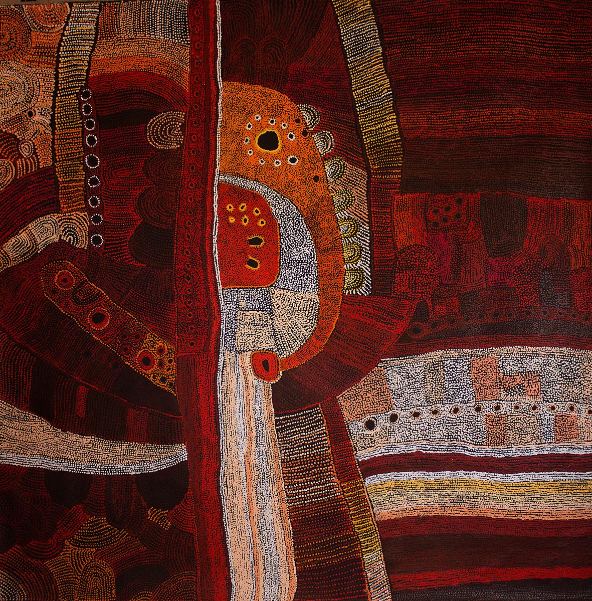 Peinture acrylique sur toile de l'artiste Maringka Baker. Format : 200 x 200 cm. Provenance : centre d'art de Tjungu Palya. Photo : Aboriginal Signature gallery with the courtesy of the artist.