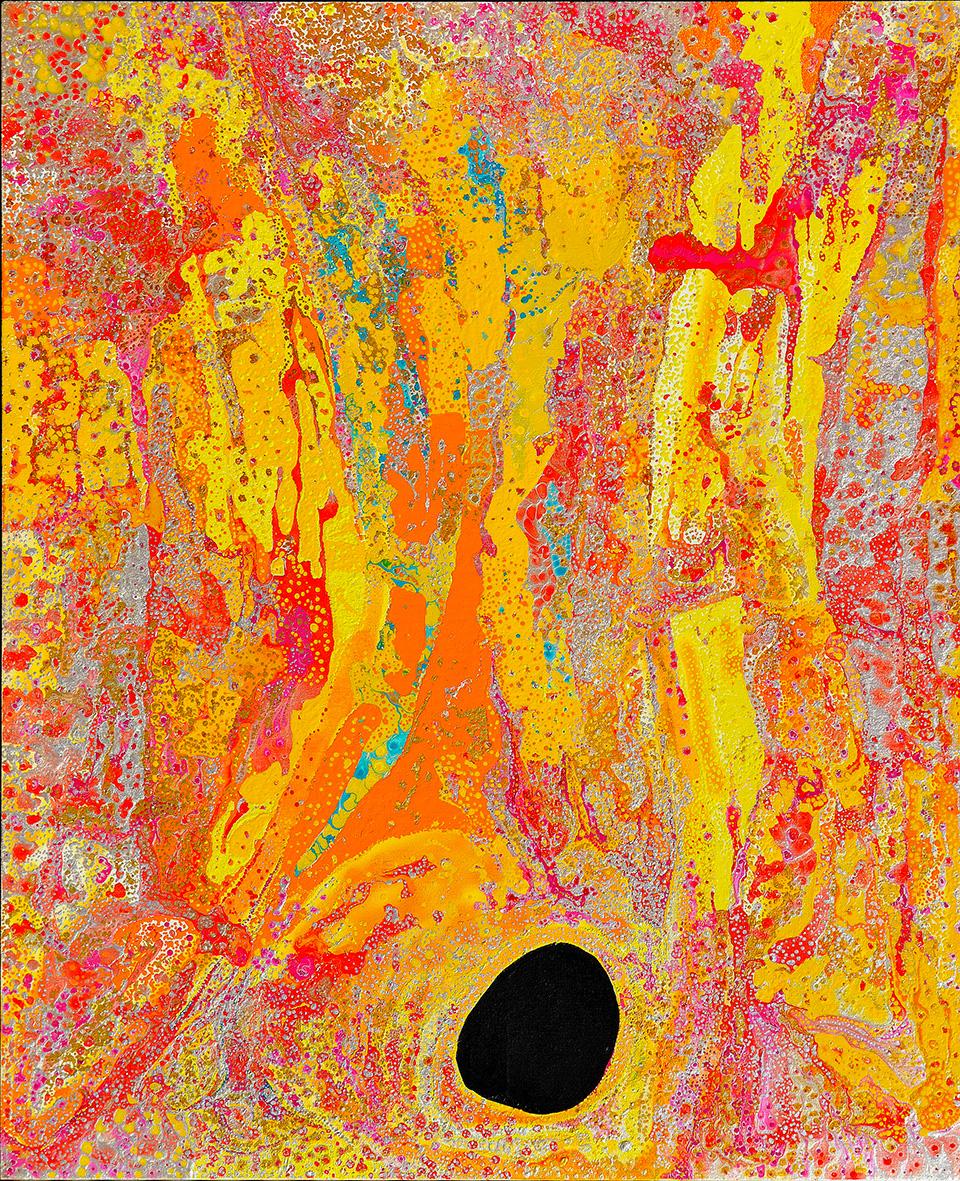 Peinture acrylique sur toile de l'artiste Daniel Walbidi. Titre : Wirnpa. Format : 180 x 150 cm. © Photo : Aboriginal Signature, with the courtesy of the artist & Yulparija community.