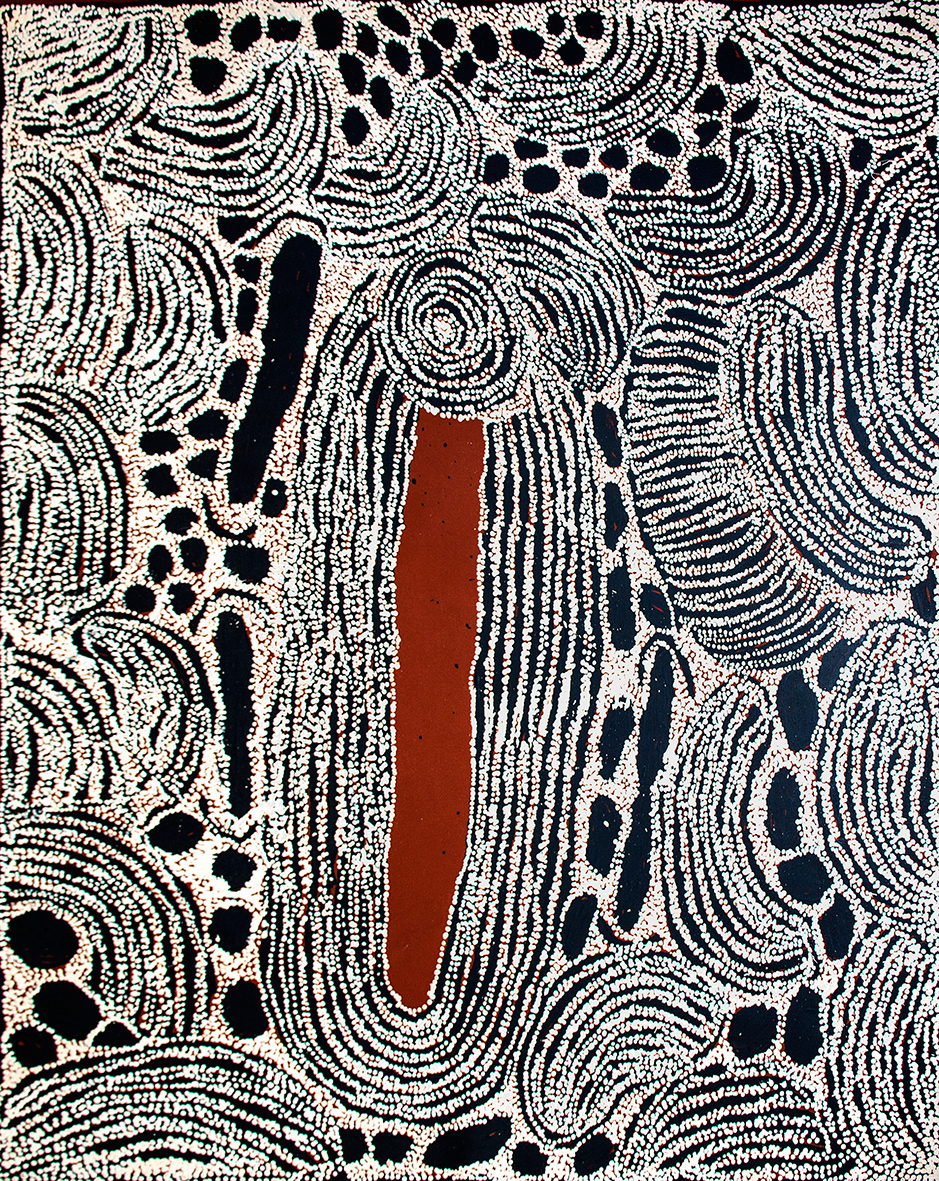 Rockhole site of Wirrulnga (ancestral stories & women ceremonies) de l'artiste Ningura Napurrula. Format : 152 x 122 cm. © Photo : Aboriginal Signature with the courtesy of Papunya Tula Artists.