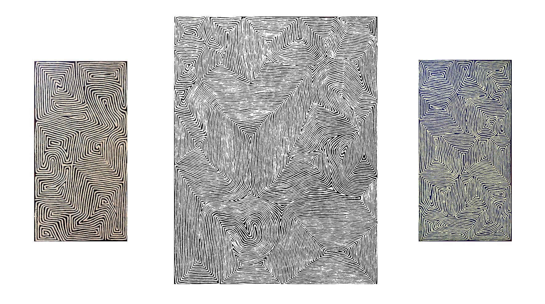 Trois œuvres de l'artiste Aborigène George Tjungurrayi. Format de gauche à droite : 91 x 46 cm, 122 x 91 cm, 91 x 46 cm. Thème : Dreaming time lié au cycle Tingari. Provenance : Papunya Tula Artists © Photo : Aboriginal Signature • Estrangin gallery with the courtesy of the artist.