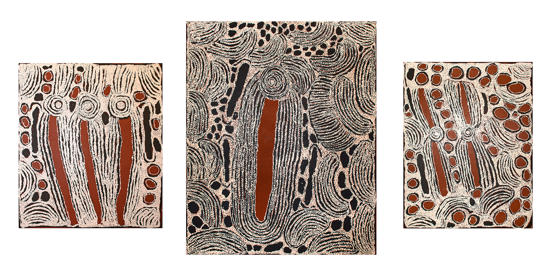 Trois œuvres de l'artiste Aborigène Ningura Napurrula. 107 x 91 cm. 153 x 122 cm. 122 x 91 cm. Provenance : Papunya Tula Artists © Photo : Aboriginal Signature • Estrangin gallery with the courtesy of the artist.