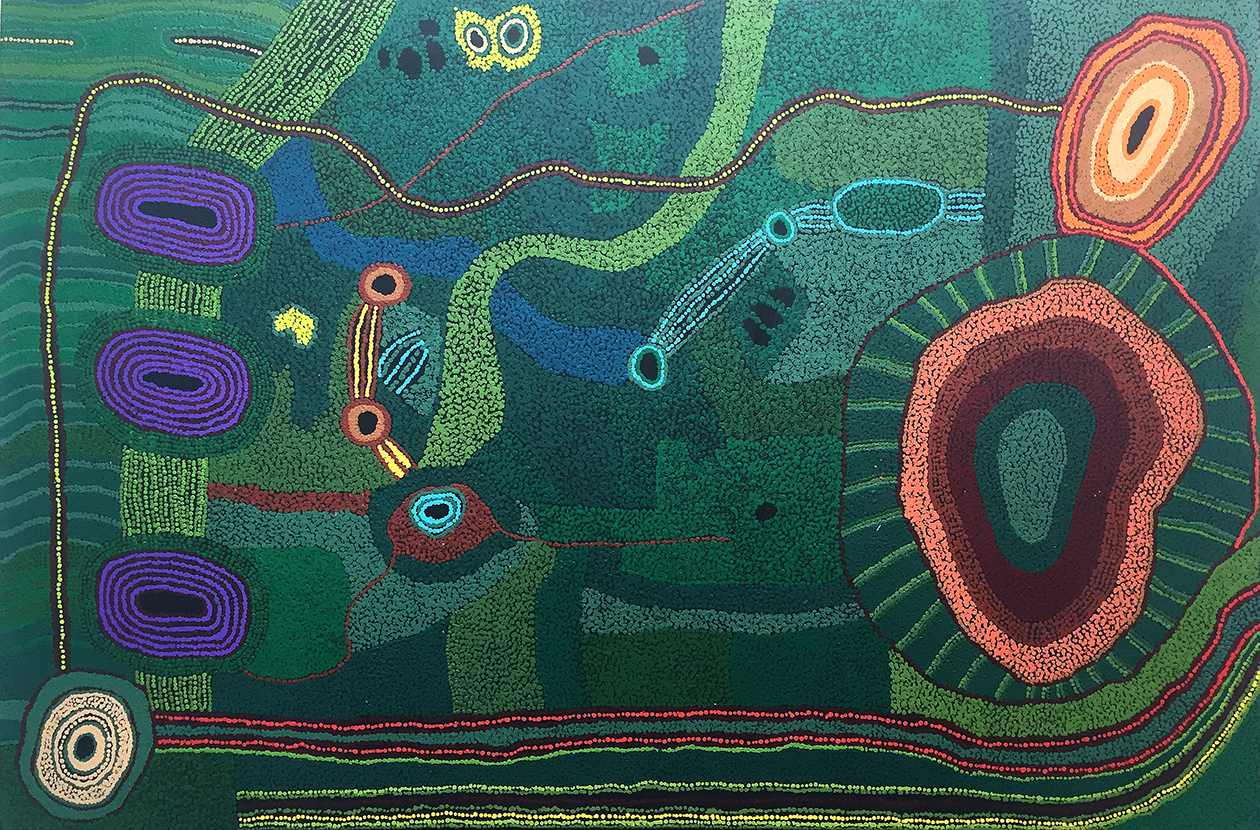Œuvre de l'artiste Tjungkara Ken. Format : 151 x 100 cm. © Photo : Aboriginal Signature • Estrangin gallery with the courtesy of Tjala Arts and the artist.