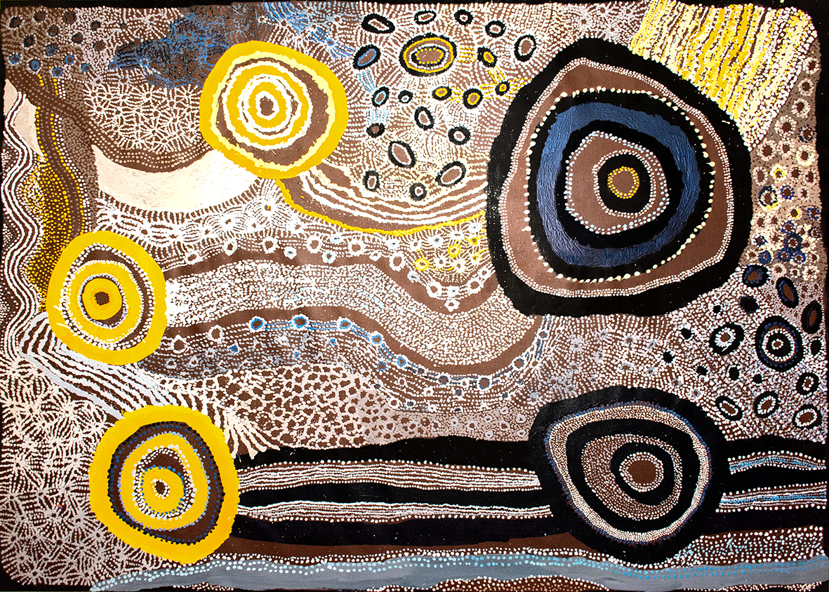 Peinture Aborigène collaborative Wattaru du centre d'art de Tjungu Palya. Titre : Ilpili 2016. Format : 200 x 150 cm. This is the creation story for Ilpili about the Two Sister creation beings. © Photo Aboriginal Signature • Estrangin gallery, with the courtesy of the artists and Tjungu Palya Arts.