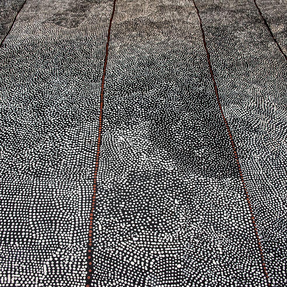 Détail d'une peinture de l'artiste Kathleen Petyarre. Titre : Sand Hills et Rêve du lézard caméléon. Format : 120 x 120 cm. © Photo : Aboriginal Signature • Estrangin gallery with the courtesy of the artist.