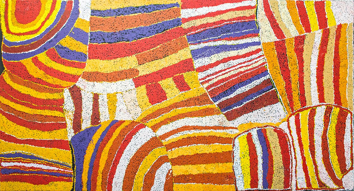 Œuvre de l'artiste Kunmanara (Nyankulya Walayampari) Watson (1938-2012). Format : 200 x 100 cm. © Photo : Aboriginal Signature gallery, with the courtesy of the artist and Ninuku Arts.