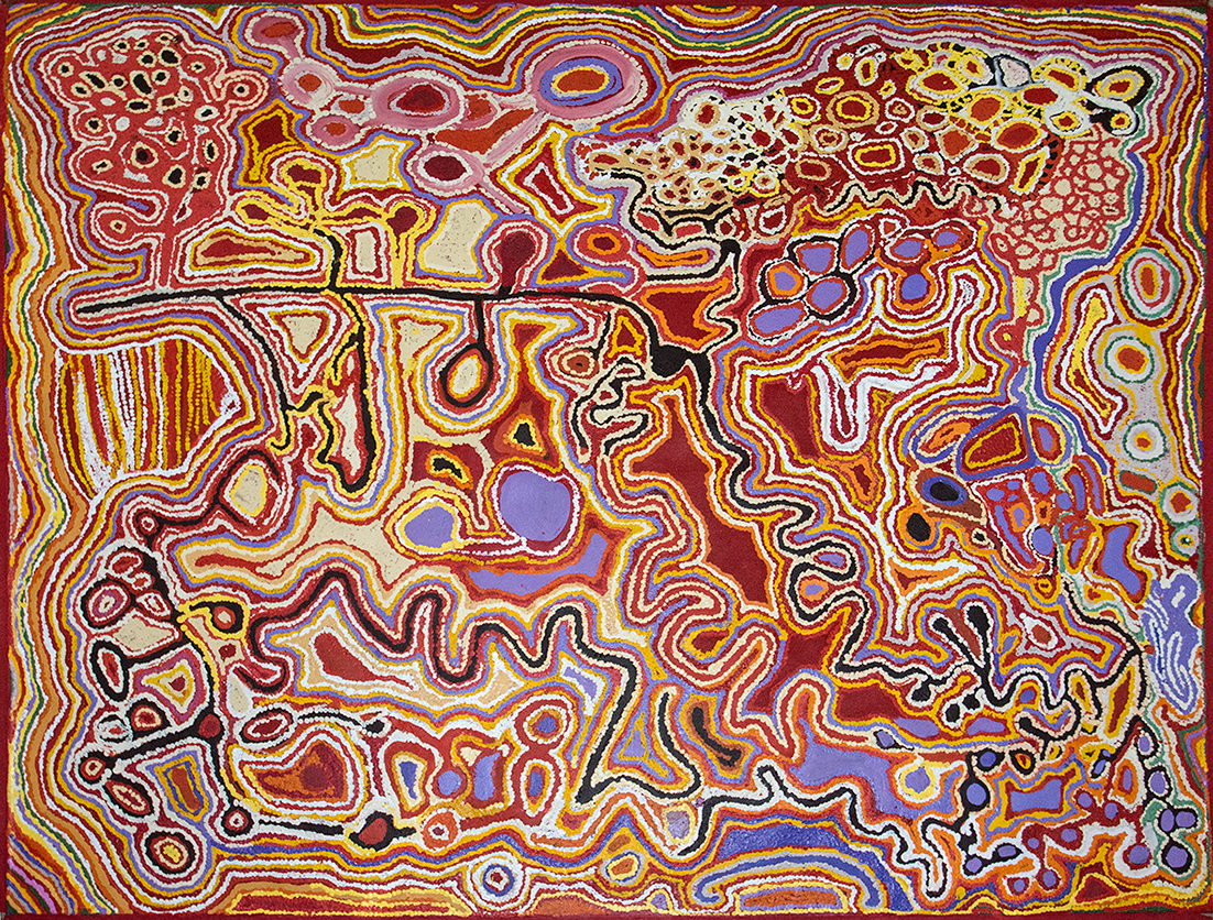 Peinture d'art Aborigène d'Australie de l'artiste Jimmy Donegan. Titre : Pukara. Format : 180 x 153 cm. © Photo : Aboriginal Signature • Estrangin gallery with the courtesy of the artist and Ninuku Arts.