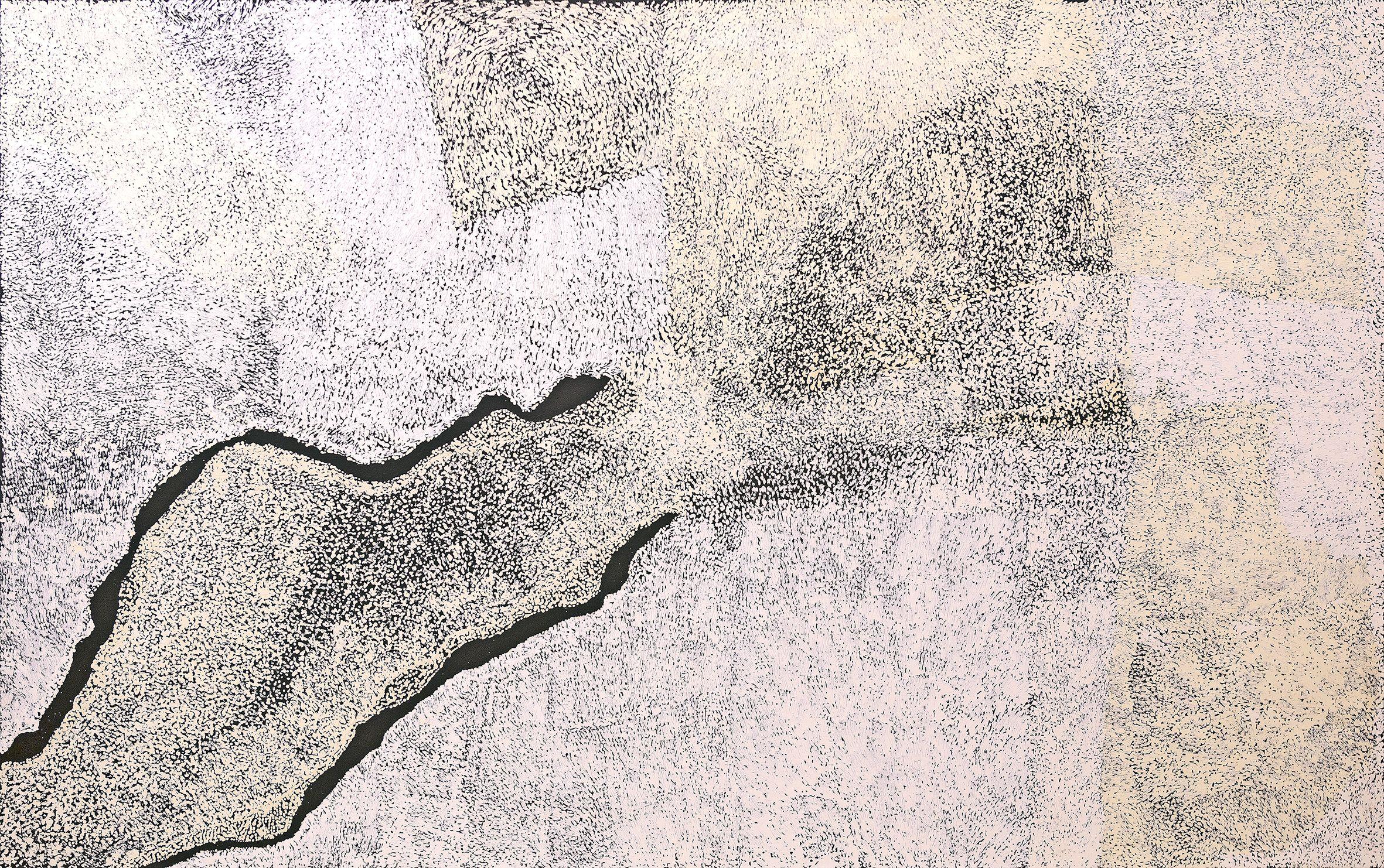 Titre : Walungurru. Artiste : Pepai Jangala Carroll. Format : 280 x 175 cm. © Photo : Aboriginal Signature with the courtesy of the artist and Ernabella Arts.  Plus d'info ici.