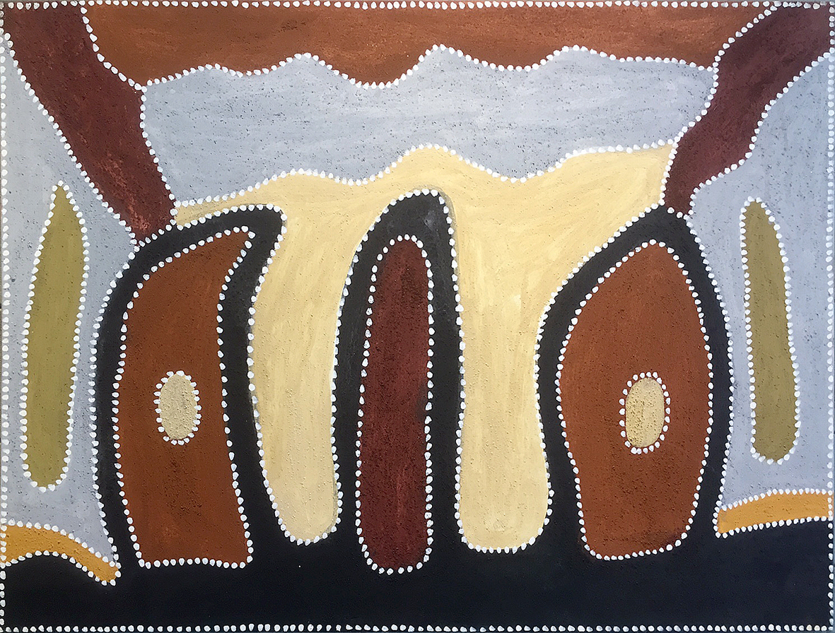 Peinture de l'artiste  Phyllis Thomas - Gija country - 120 x 90 cm. © photo : Aboriginal Signature Estrangin gallery with the courtesy of the artist and Warmun Arts.