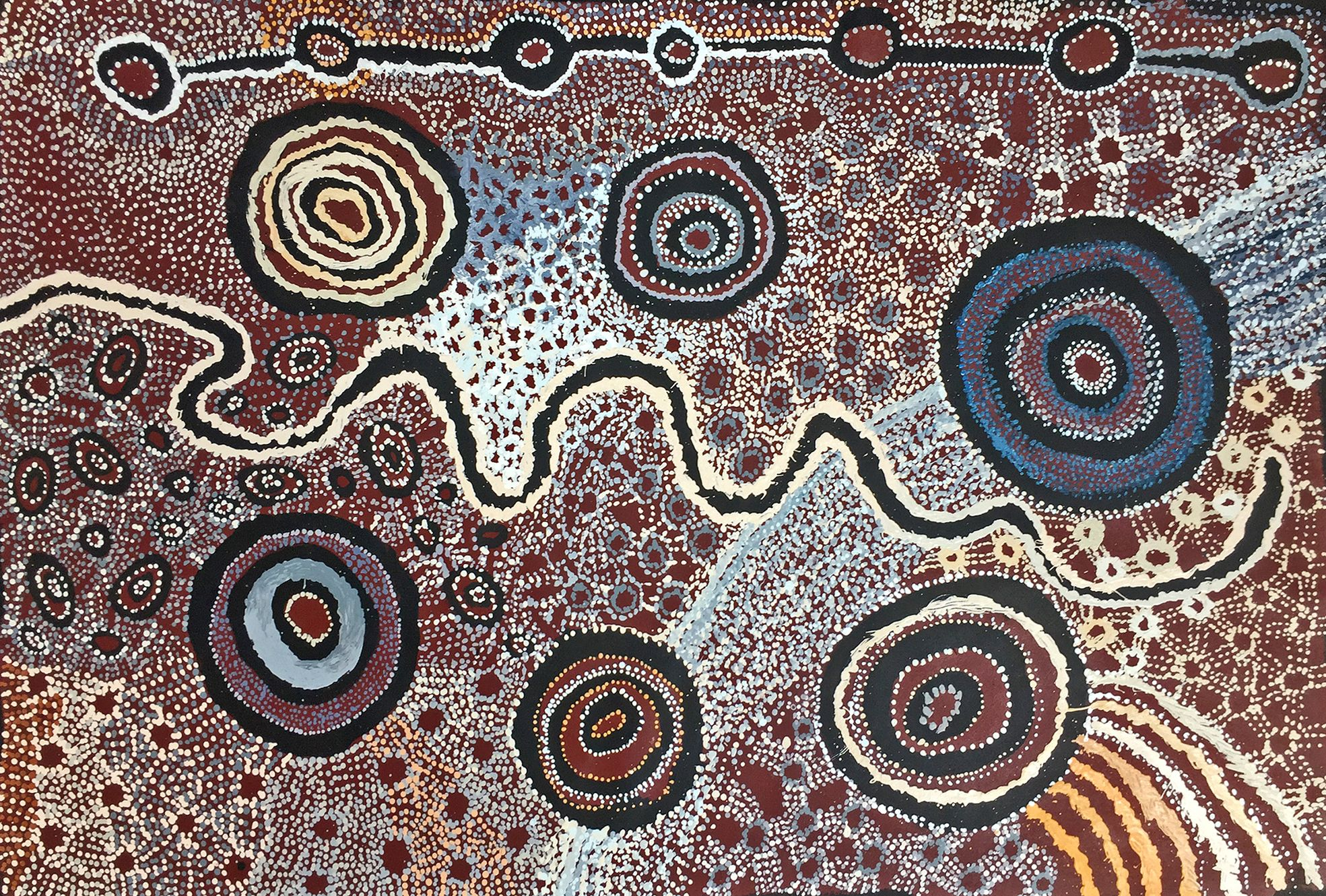Artiste : Wattaru collaborative. Titre : Ilpili - Dreaming Time Stories. 2017. Provenance : Tjungu Palya art center, APY lands, Australie. 150 x 100 cm © Aboriginal Signature • Estrangin gallery, avec l'autorisation de l'artiste et du Tjungu Palya Art Centre