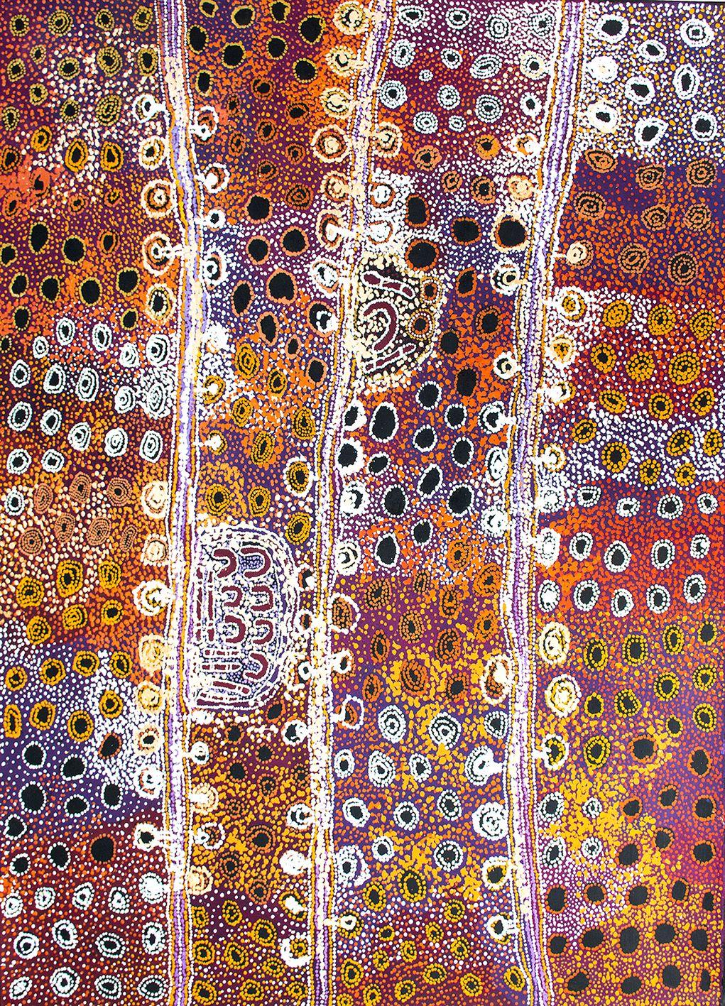 Artiste : Mona Mitakiki Shepherd. Titre : Seven Sisters Dreaming Time story 2017. Provenance : Tjala art center, APY lands, Australie. 152 x 122 cm © Aboriginal Signature • Estrangin gallery, avec l'autorisation de l'artiste et du Tjala Art Centre