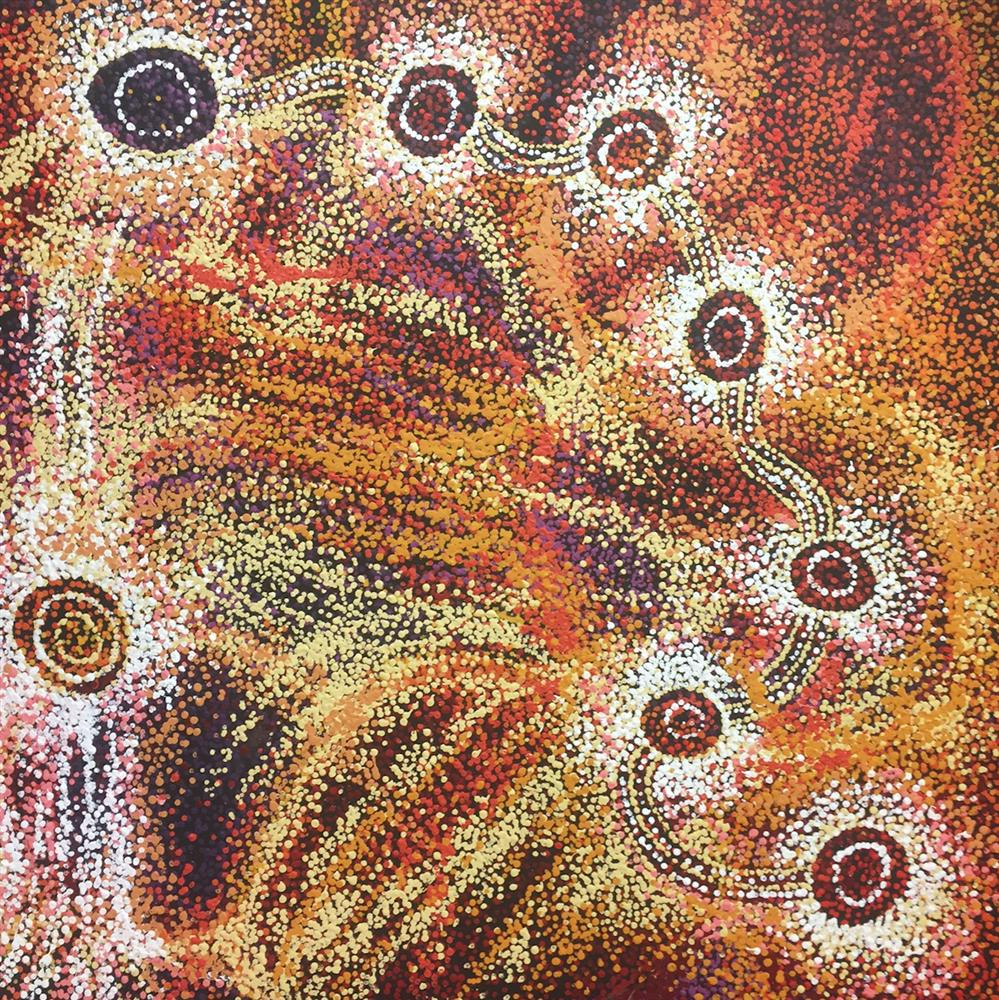 Artiste : Jennifer Ingkatji. Titre : Ngayuku ngura - Dreaming Time story 2017. Provenance : Tjala art center, APY lands, Australie. 122 x 90 cm Aboriginal Signature gallery, with courtesy the artist and Tjala Art.
