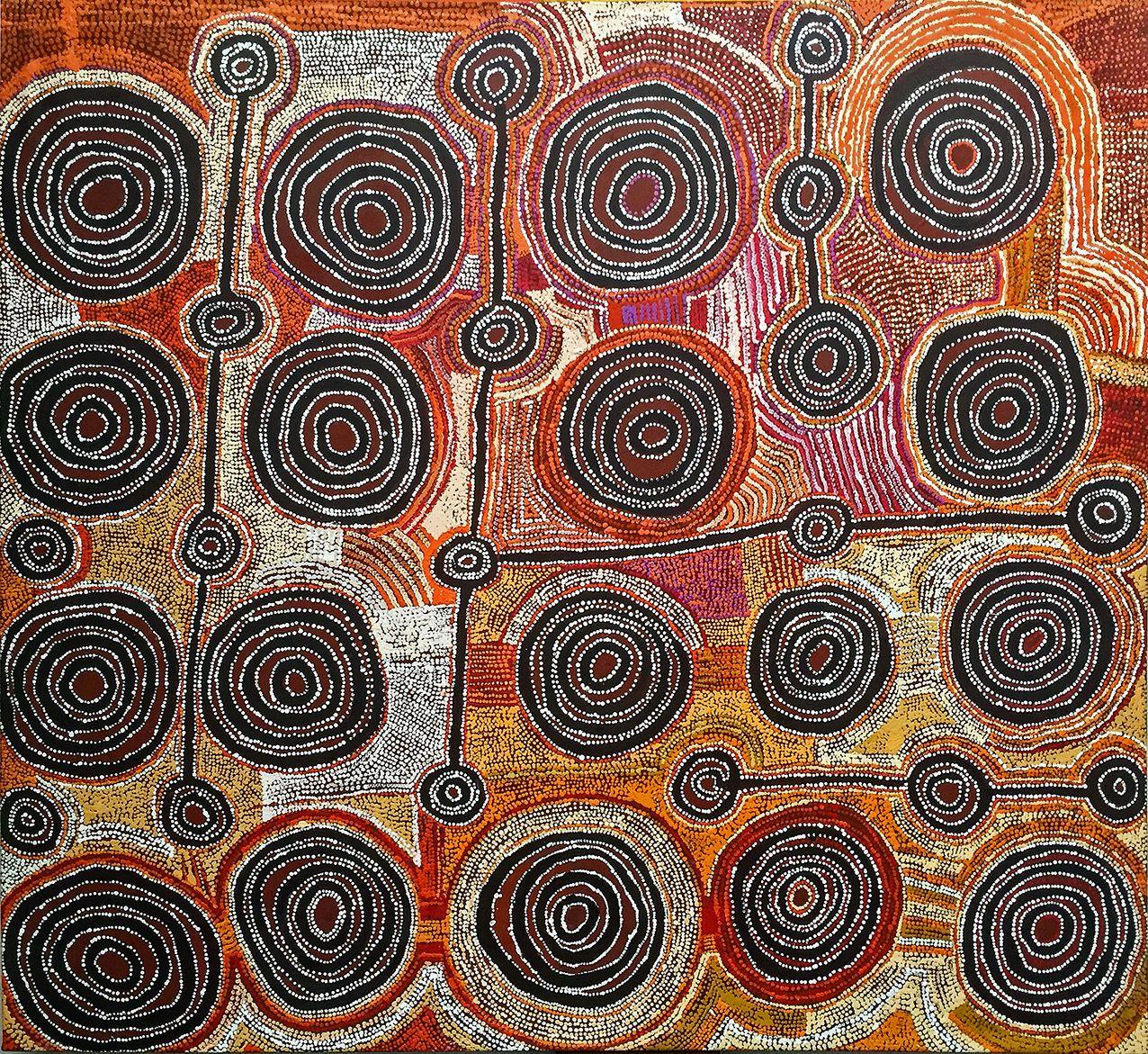 Artiste : Taylor Cooper. Titre : Malara - Wanakpi tjukurpa Dreaming Time story 2017. Provenance : Kaltjiti Arts, APY lands, Australie. 198 x 183 cm © Aboriginal Signature • Estrangin gallery, avec l'autorisation de l'artiste et du Kaltjiti Arts Centre