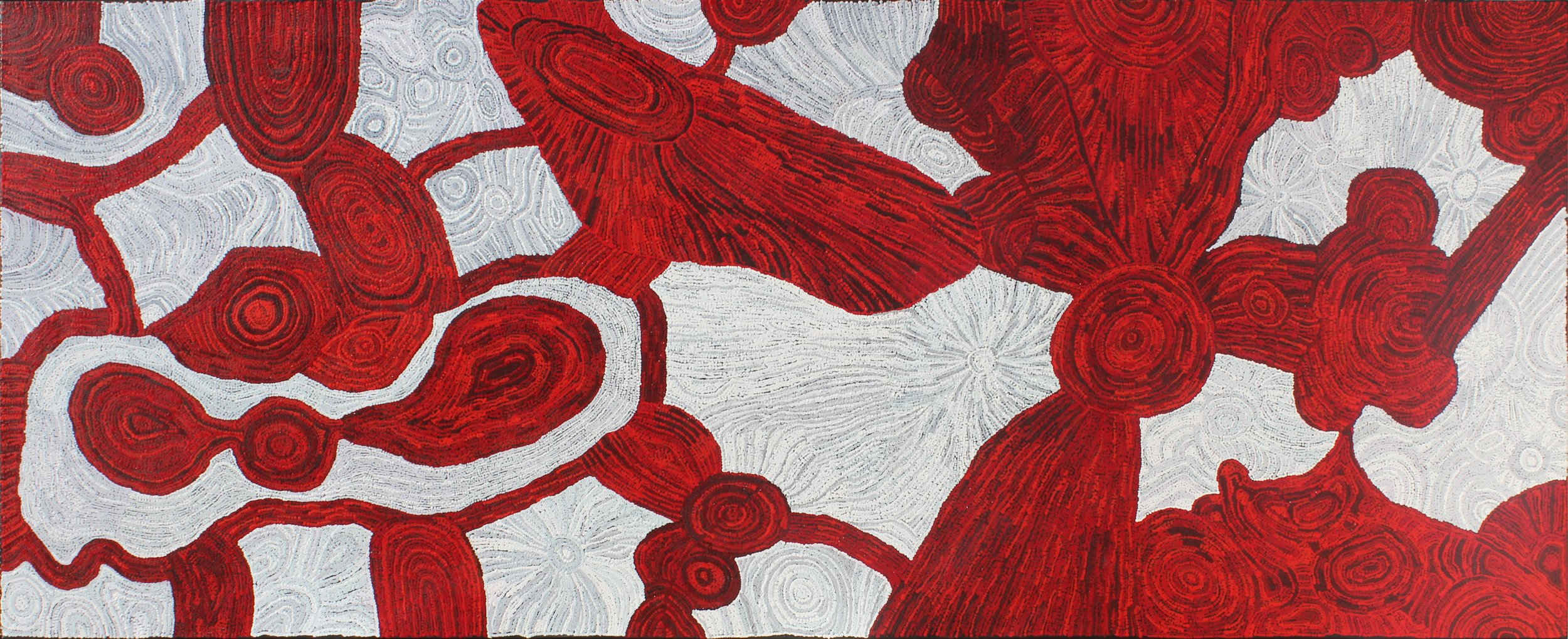 Betty Kauntiwa Pumani . Titre : Antara Tjukurpa - Dreaming Time story. Format : 300 x 120 cm. Cette œuvre gagnante du grand prix de l'art Aborigène en 2016 au Musée National de Darwin, sera exposée au sein de la galerie. © Aboriginal Signature • Estrangin gallery, avec l'autorisation de l'artiste et du Mimili Maku Art Center