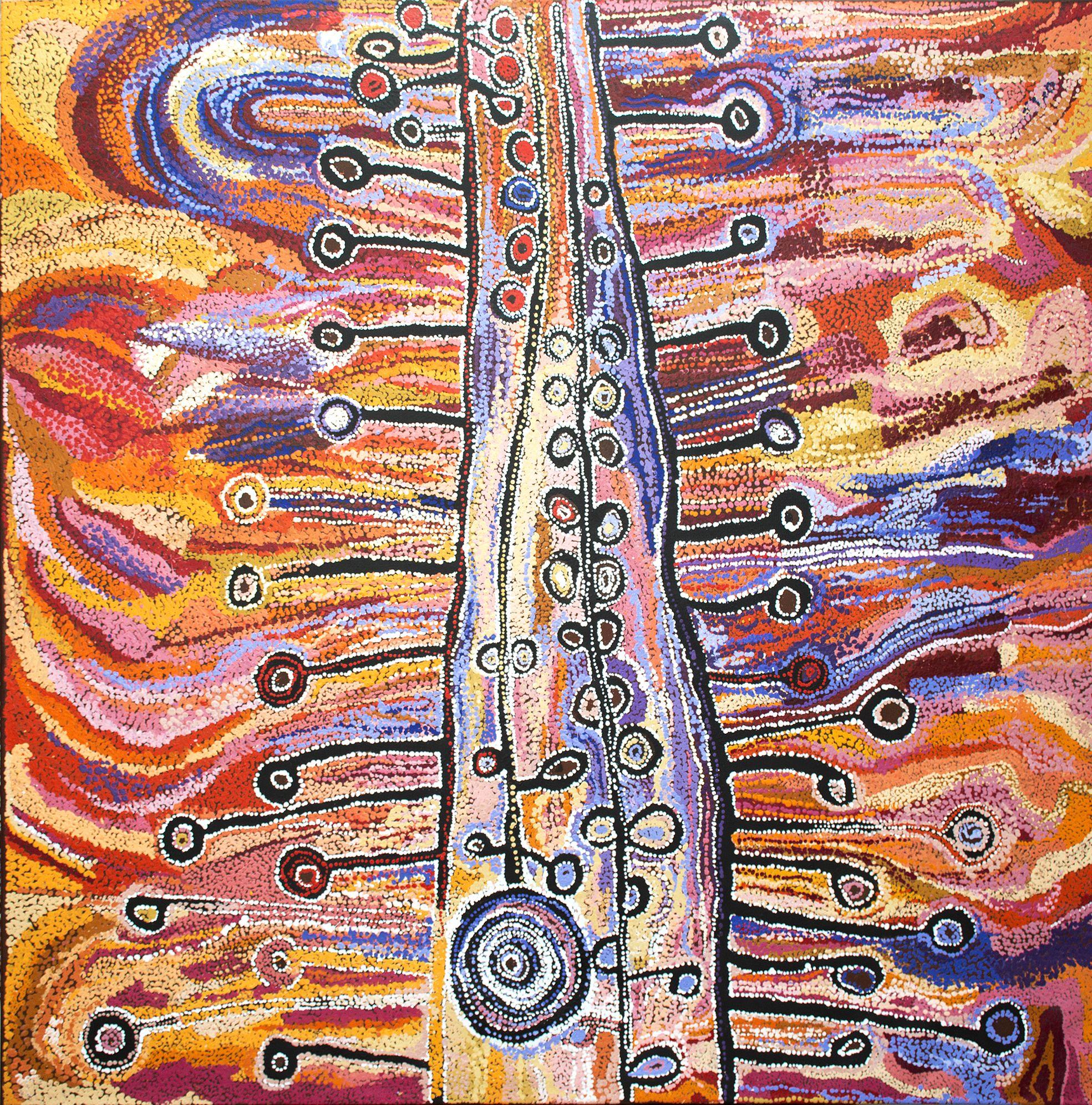 Œuvre de l'artiste Aborigène Wawiriya Burton (1925). Titre : Ngayuku Mamaku Ngura- My Father's Country. Format : 198 x 197 cm. © Aboriginal Signature • Estrangin gallery, avec l'autorisation des artistes et de Tjala Art Centre.