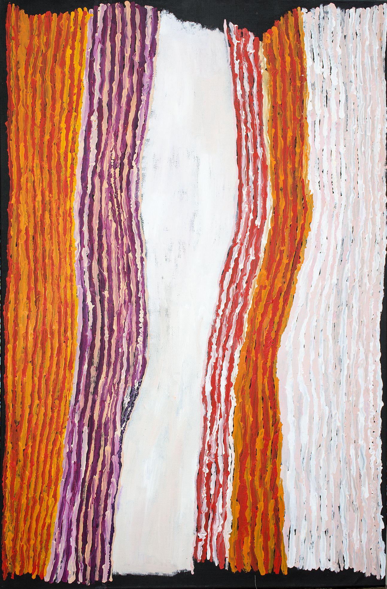 Œuvre de l'artiste Ray Ken de Tjala Arts. Titre : Tali Sand Dune. Format : 150 x 90 cm. © Photo Aboriginal Signature Estrangin gallery with the courtesy of the artist and Tjala Arts.