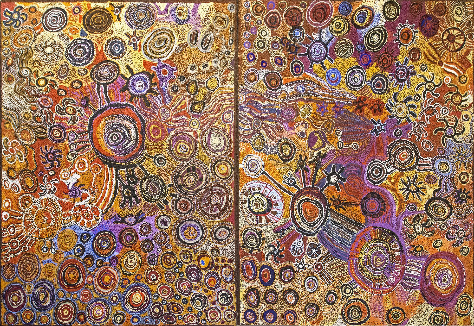 Major Women Collaborative - 300 x 200 cm. Artiste : Senior Women from Fregon. Format : 2 x 153 x 200 cm. © Photo Aboriginal Signature with the courtesy of the artist and Kaltjiti Art