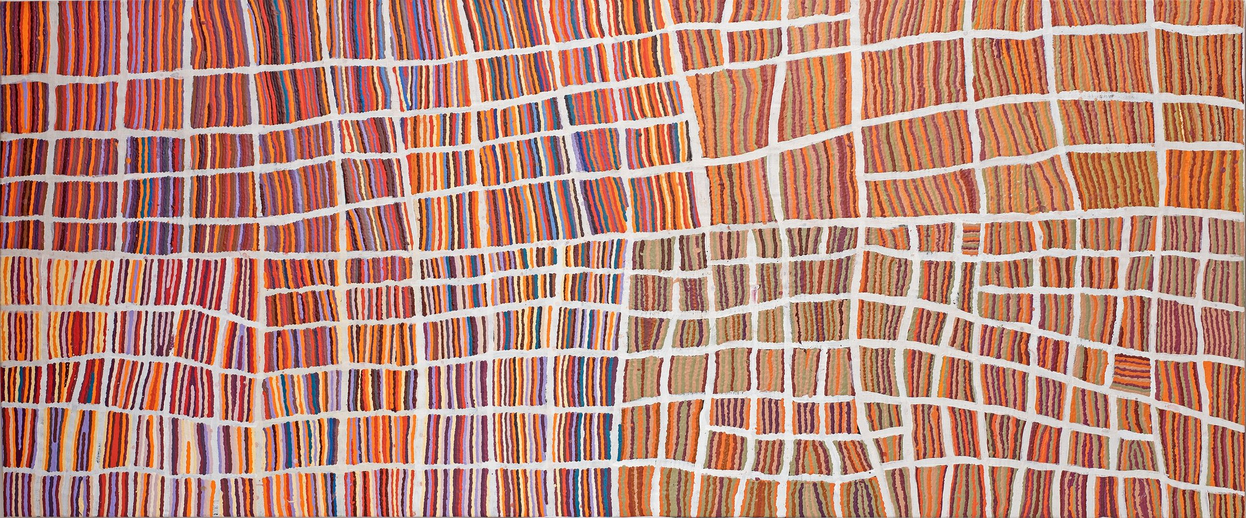 Œuvre collaborative majeure de Wokka Taylor (1939) et Nancy Karnu Taylor (1941). Titre : Jantinti. Format : 300 x 122 cm. ref : 18-150. © Photo : Aboriginal Signature Estrangin gallery with the courtesy of the artists and Martumili.    Plus d'informations sur cette peinture d'art Aborigène.