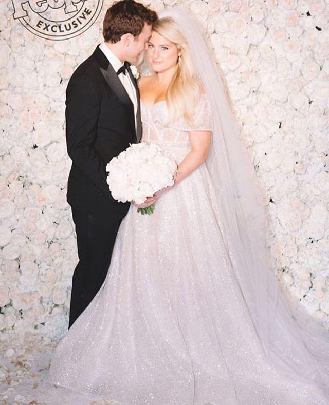 Congrats to @meghan_trainor @darylsabara sabara on their wedding. The bride wore an elegant @berta gown, @badgleymischka heels and @normansilverman jewels. 💕 . . . . . . . #bertabridal#celebritywedding#weddinggown#meghantrainor #weddingdress#weddinginspiration