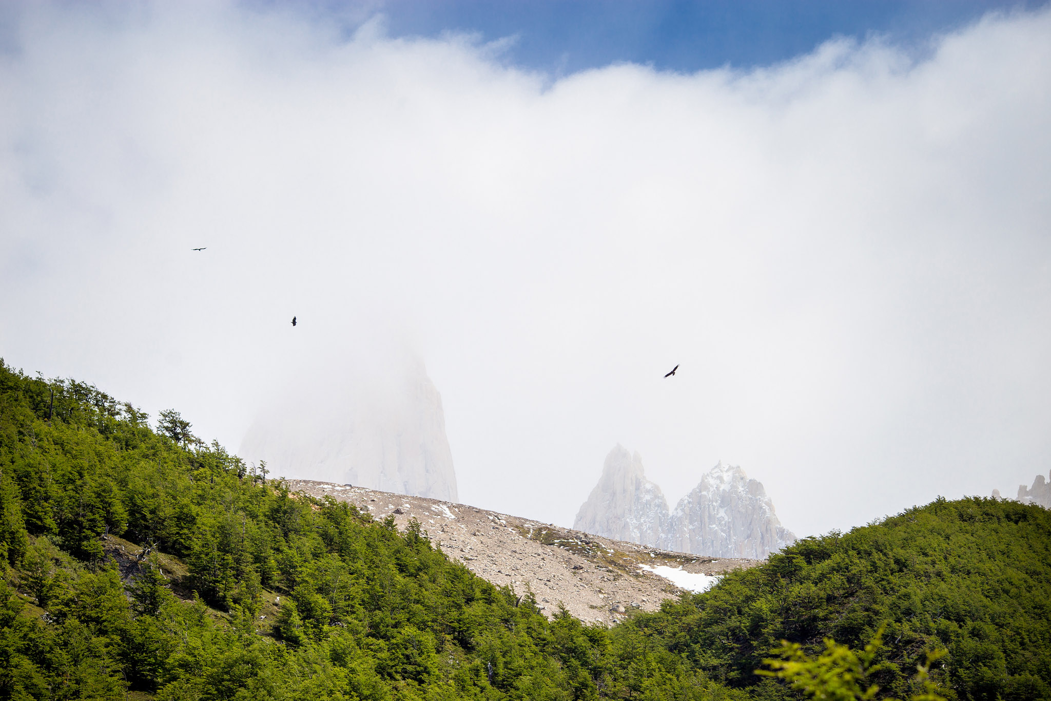 Wedding-Travellers-Overlanding-Destination-Wedding-Chile-Torres-del-Paine-birds-clouds-fog