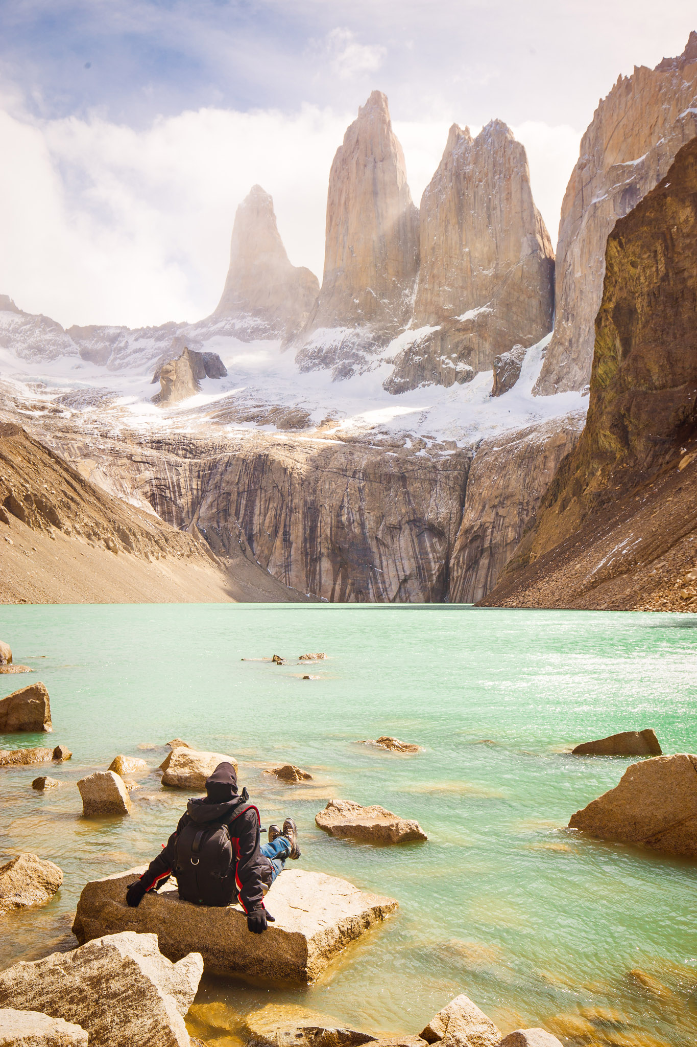 Wedding-Travellers-Overlanding-Destination-Wedding-Chile-Torres-del-Paine-Tres-Torres-Three-Towers-clouds-lake-emerald