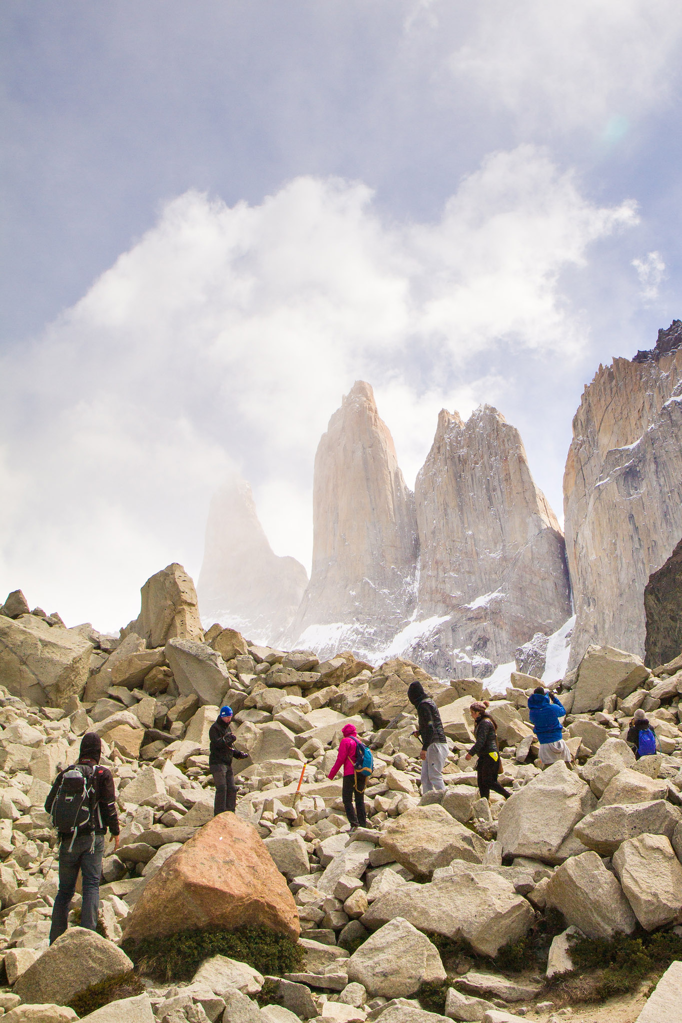 Wedding-Travellers-Overlanding-Destination-Wedding-Chile-Torres-del-Paine-Tres-Torres-Three-Towers-clouds-people-hiking-trail