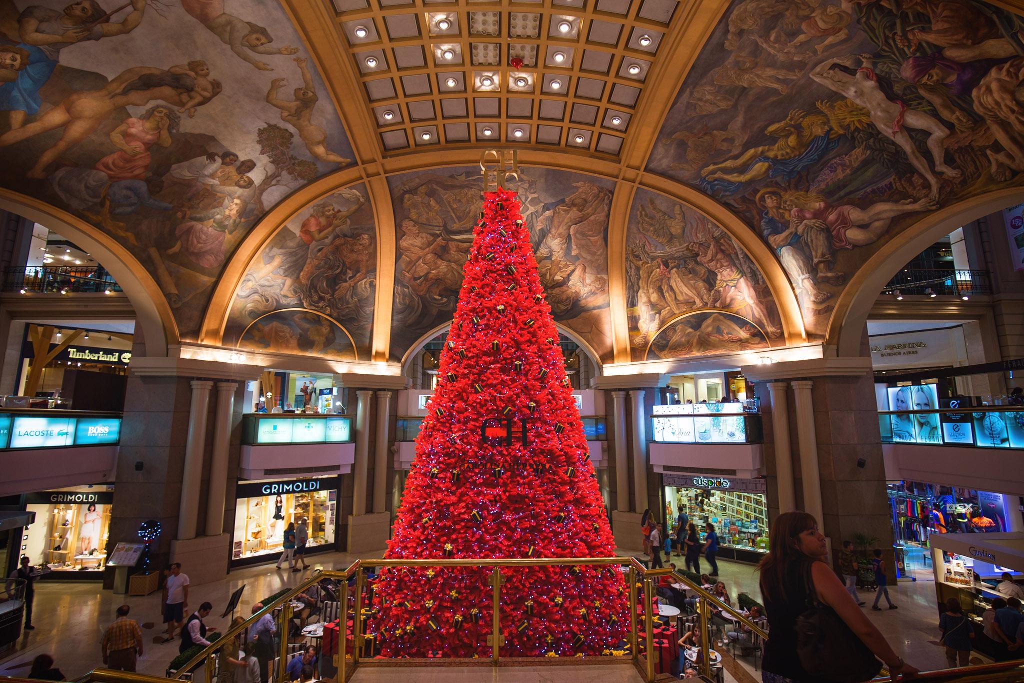 Argentina-Buenos-Aires-Galeria-Pacifico-shopping-mall-red-Christmas-tree-Carolina-Herrera