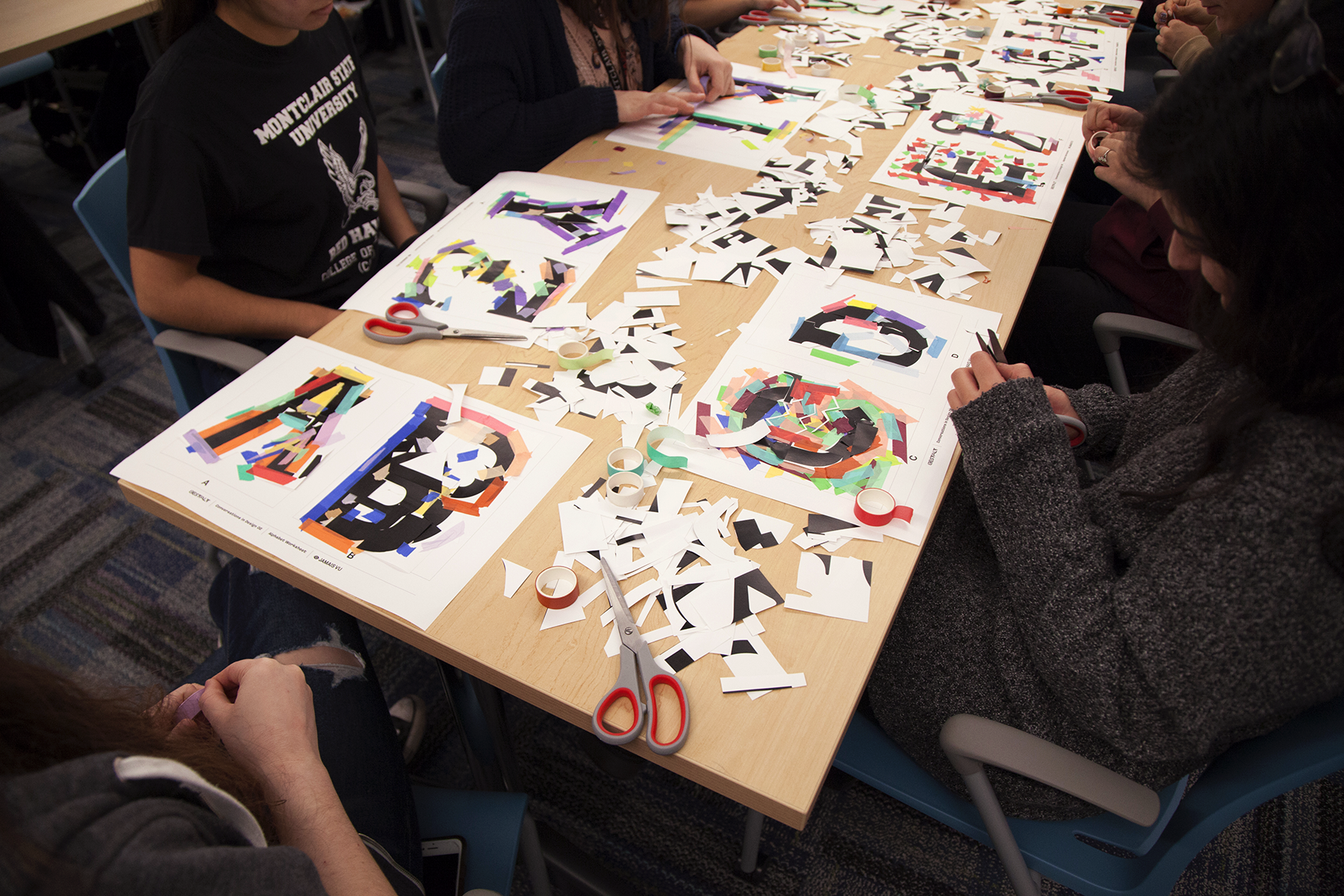 Some letters took form fairly quickly, while others were reworked and layered as the session moved along.