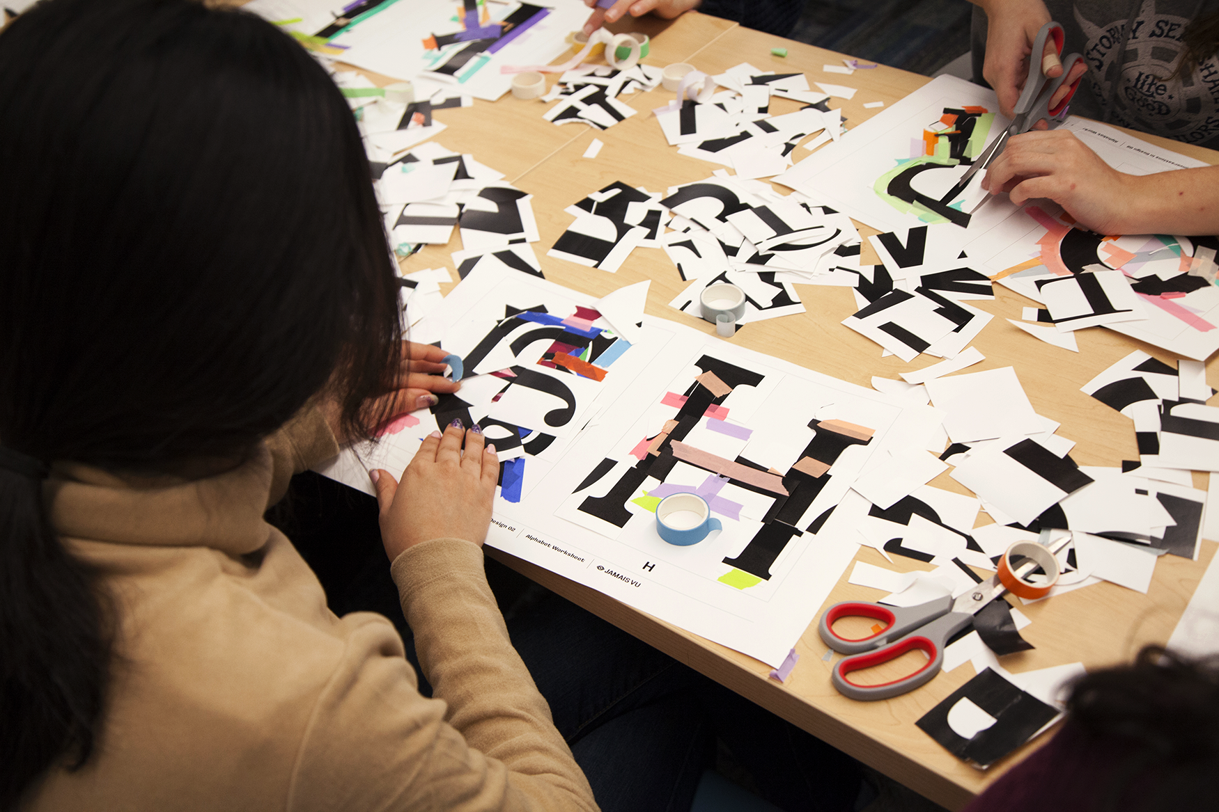 Students were given two minutes to work out their letterforms and 30 seconds to tape them down before they were rotated around.