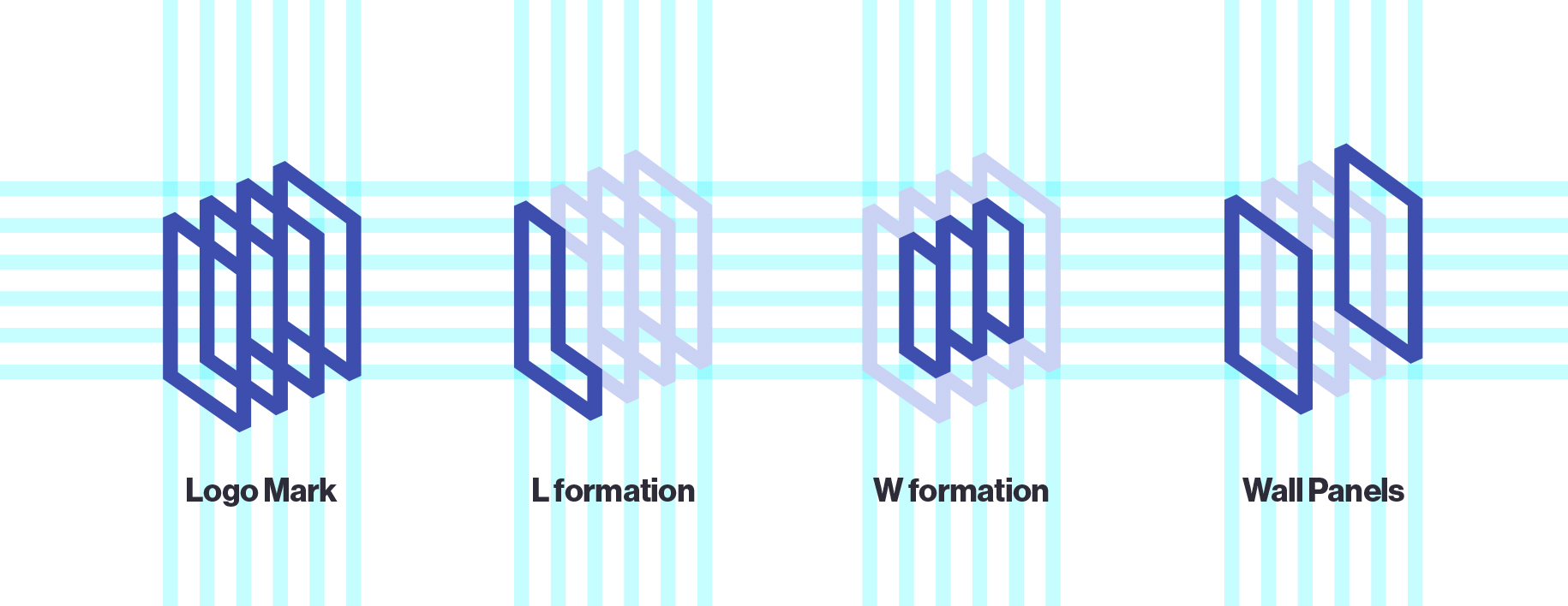 The logomark represents the collection of artists works/walls, as well as an L and a W.