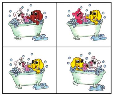 """Bildalternativen till den svåra uppgiften """"Den gula hunden tvättar den vita grisen"""""""