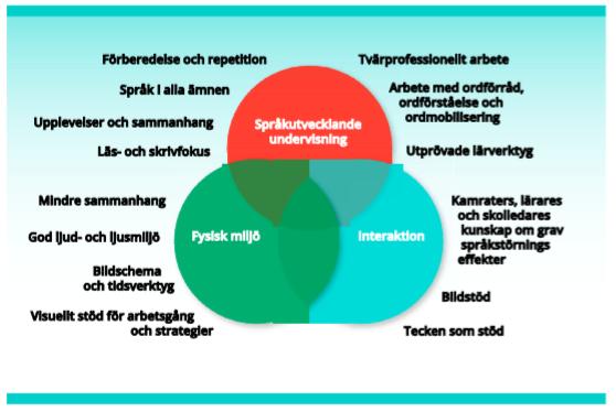 Figur 13.1 Tre aspekter av anpassningar för elever med grav språkstörning       (SOU 2016:46, s. 371)