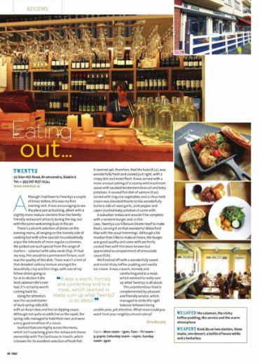 Food & Wine Magazine review of Twenty2 in May 2017
