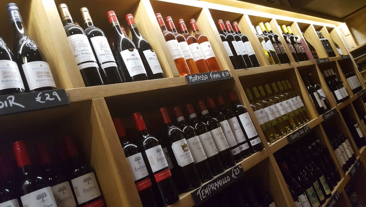 wine selection at twenty2 restaurant dublin