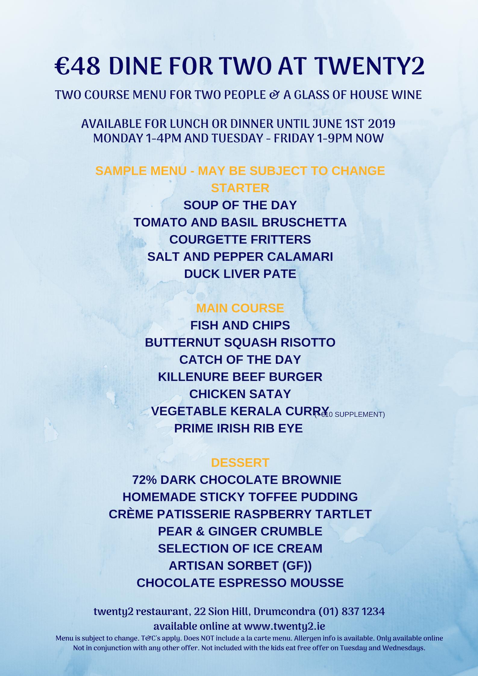 €48 dining offer sample menu at twenty2, Dublin 9