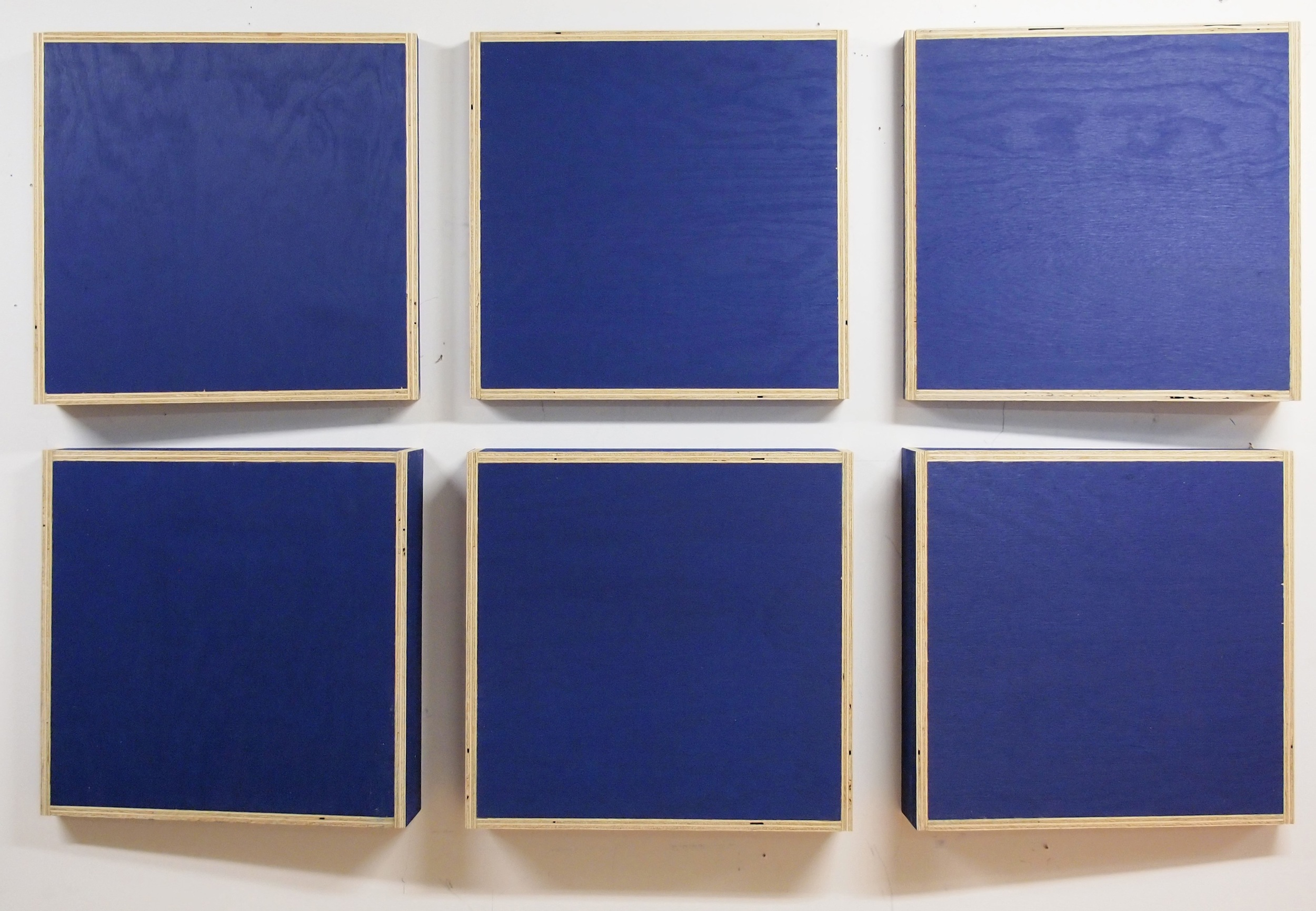 Transitional Geometry in Blue (Figure 18)  , 2012 - 2014. Eggshell on acrylic on plywood.