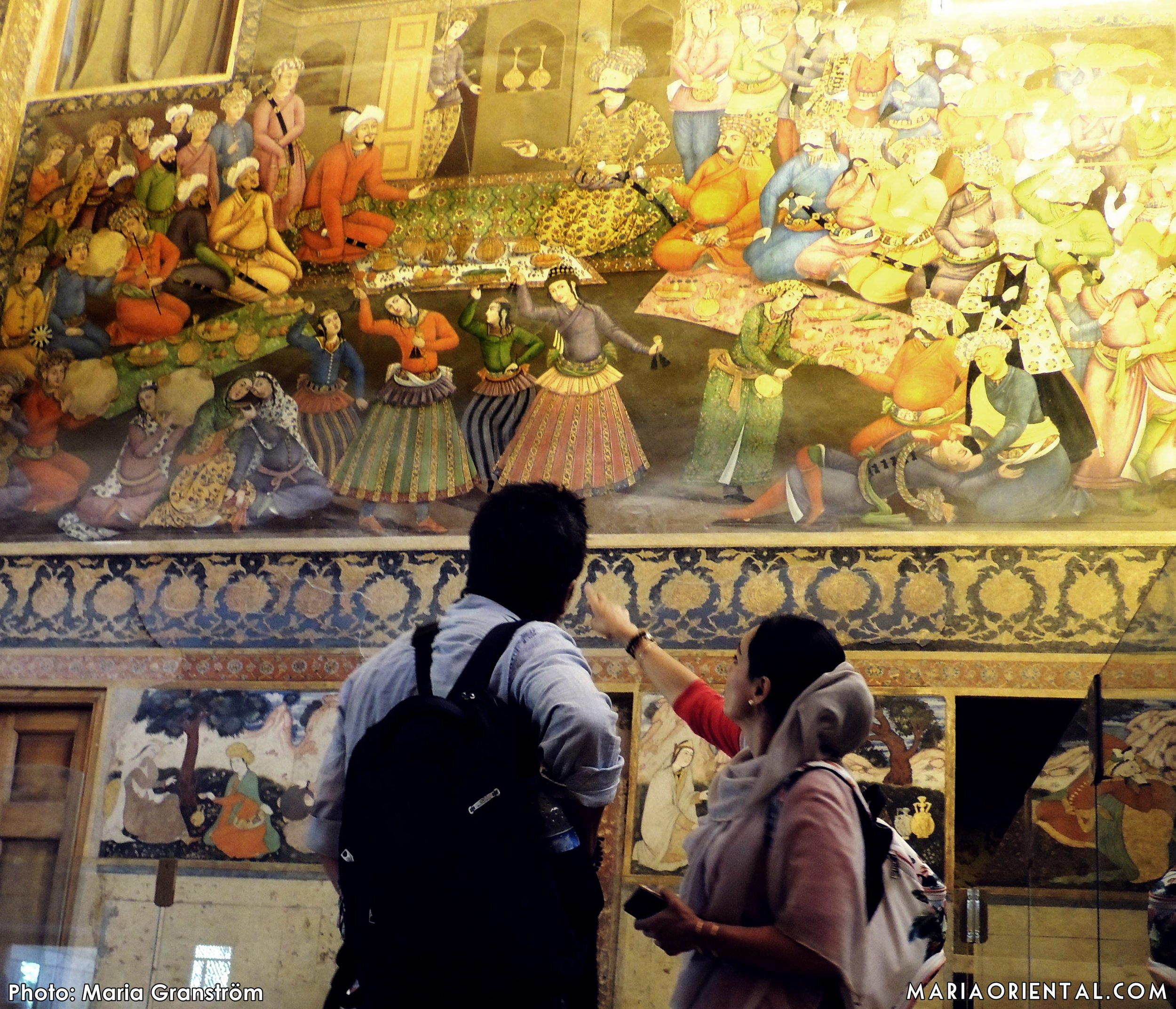 Helia beskriver målningen där Shah Tahmasp tar emot den indiske prinsen Humayun som flydde till Iran 1543.