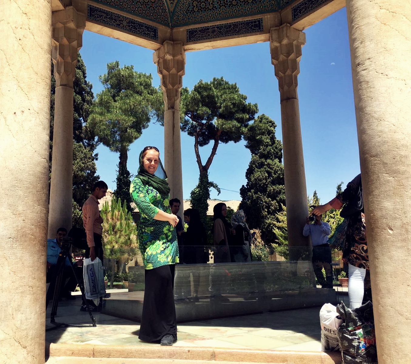 By the grave monument of Hafez. Photo by Helia Bandeh.