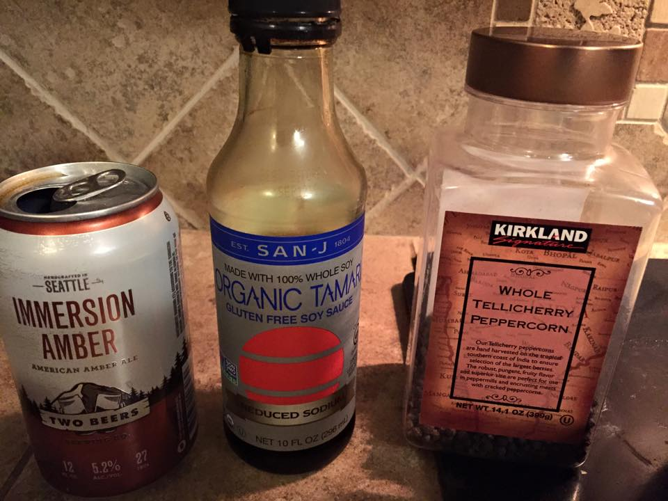 The Adobo Trifecta: Lager, soy sauce, whole peppercorns