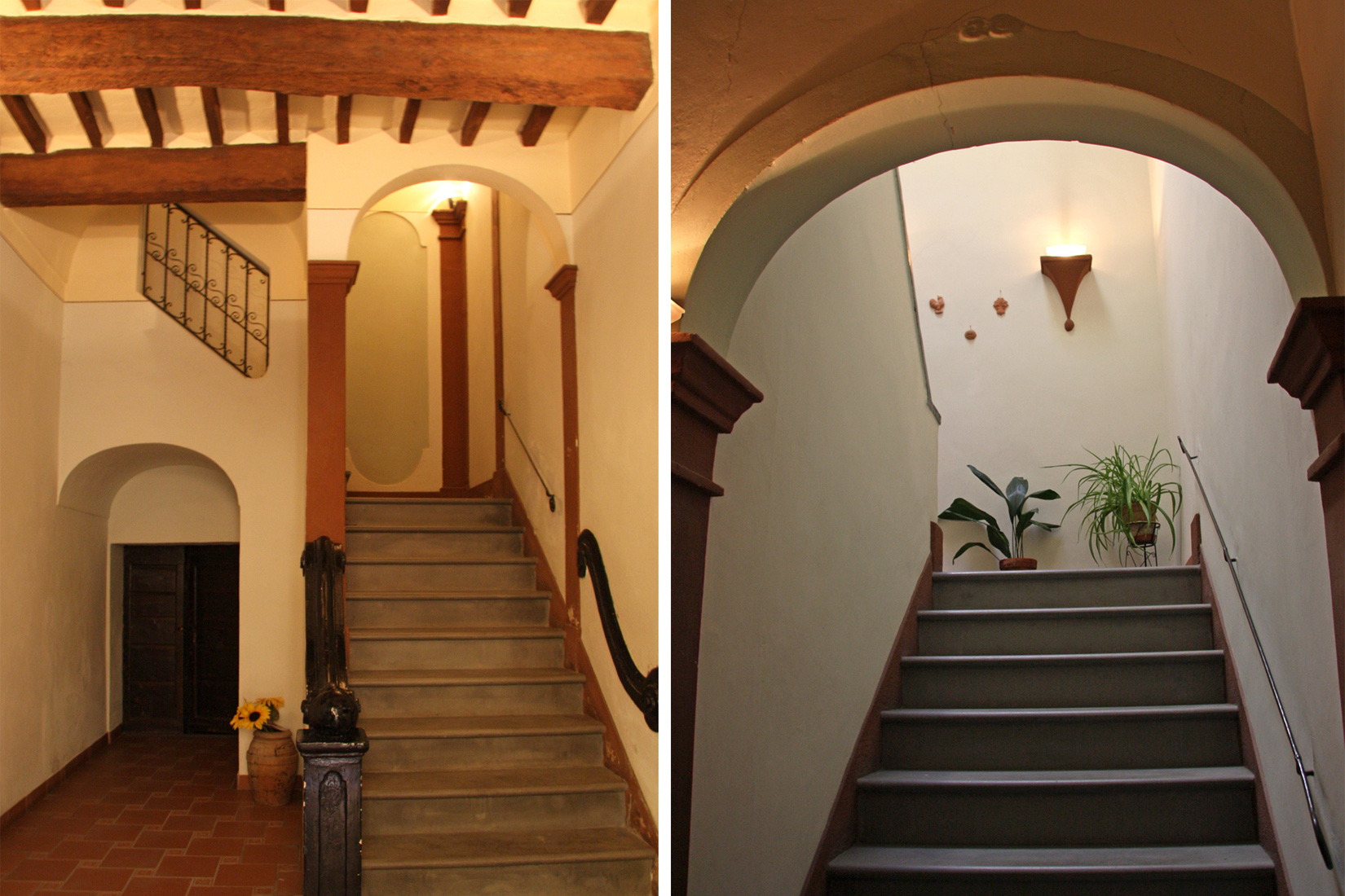 Interior hallway: entrance and stairs leading to apartment