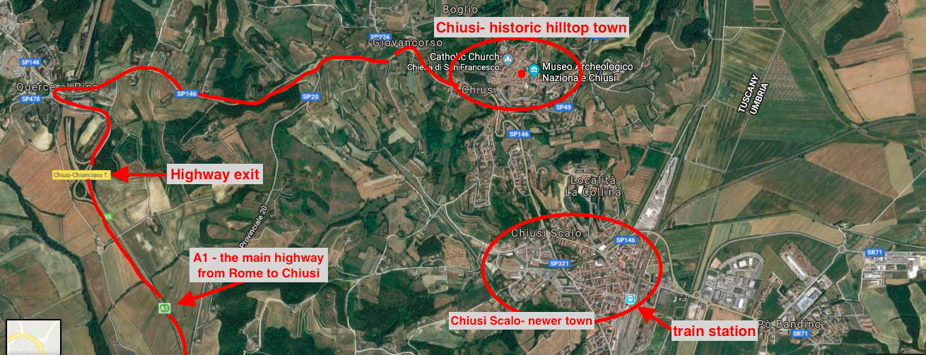 Satellite map showing: the A1 highway from Rome to Chiusi; the route from the highway to the medieval hilltop town of Chiusi; and Chiusi Scalo, the newer town where the train station is located.  Our house is located where the little red dot is, to the left of the Museum, in the hilltop town of Chiusi.