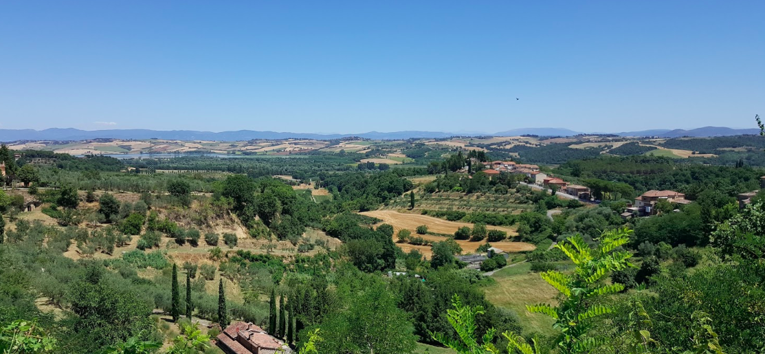 View from the medieval wall in the Piazza Vittorio Veneto. Chiusi Lake is visable in the distance.
