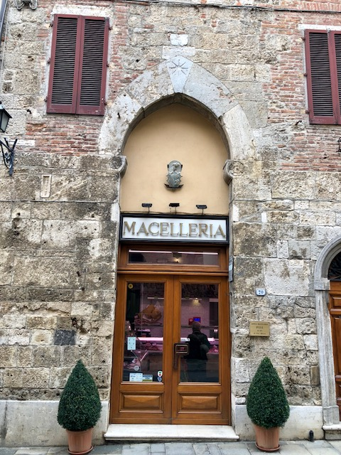 The butcher shop - on the main street - Via Porsenna.  The Cathedral is just to the left.