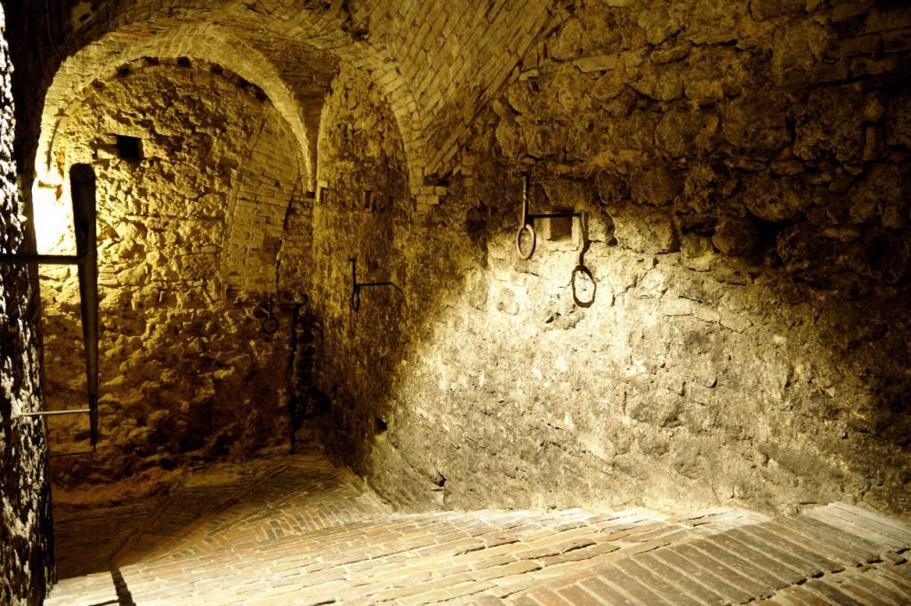 Heading down into the vaults (dating from the 6th century BC) at Cantina di Ricci.