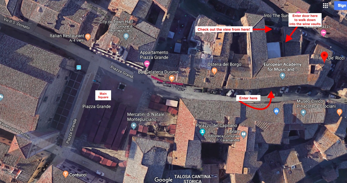 Map: How to get to Cantina di'Ricci from the Piazza Grande in Montepulciano