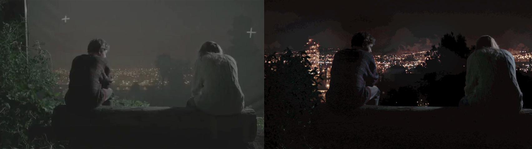Left: Blue screen rough composite, Right : Final composite